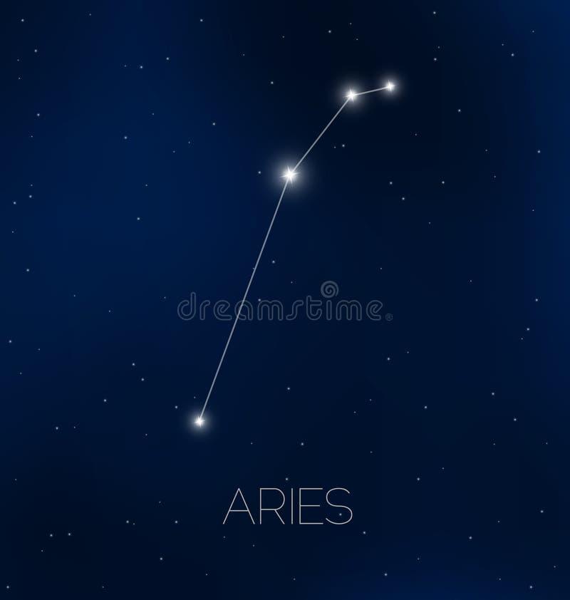 Constelación del aries en cielo nocturno libre illustration
