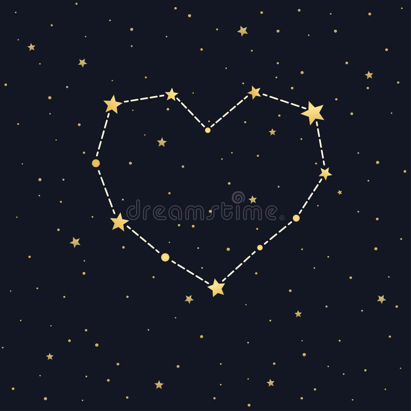 Constelación del corazón en el cielo estrellado libre illustration