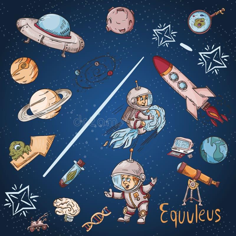 Constelación del espacio con los ejemplos de color de name_18_and en un tema científico y fantástico ilustración del vector