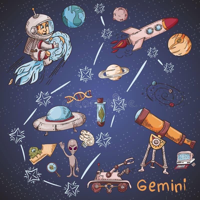 Constelación del espacio con los ejemplos de color de name_34_and en un tema científico y fantástico ilustración del vector