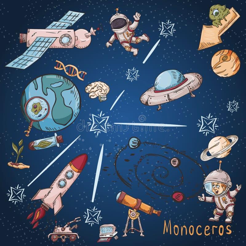 Constelación del espacio con los ejemplos de color de name_10_and en un tema científico y fantástico libre illustration