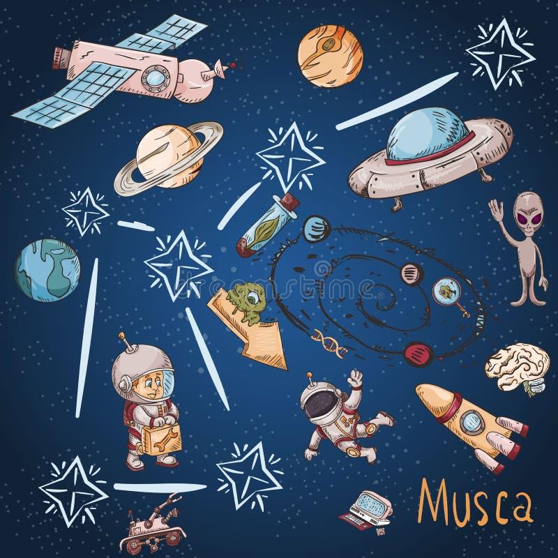 Constelación del espacio con los ejemplos de color de name_19_and en un tema científico y fantástico ilustración del vector