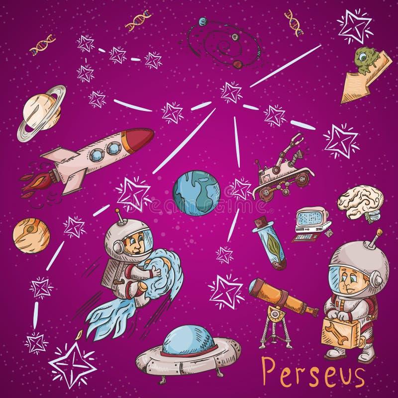 Constelación del espacio con los ejemplos de color de name_5_and en un tema científico y fantástico stock de ilustración