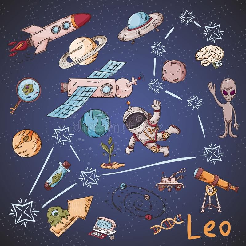 Constelación del espacio con los ejemplos de color de name_26_and en un tema científico y fantástico libre illustration