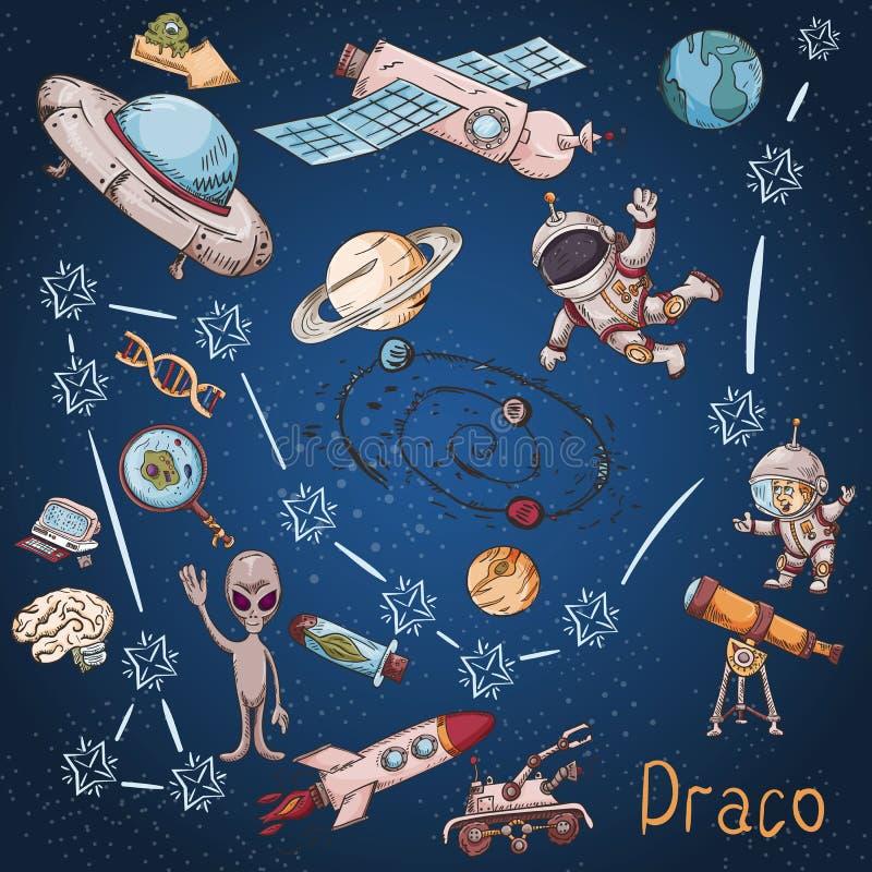 Constelación del espacio con los ejemplos de color de name_12_and en un tema científico y fantástico libre illustration