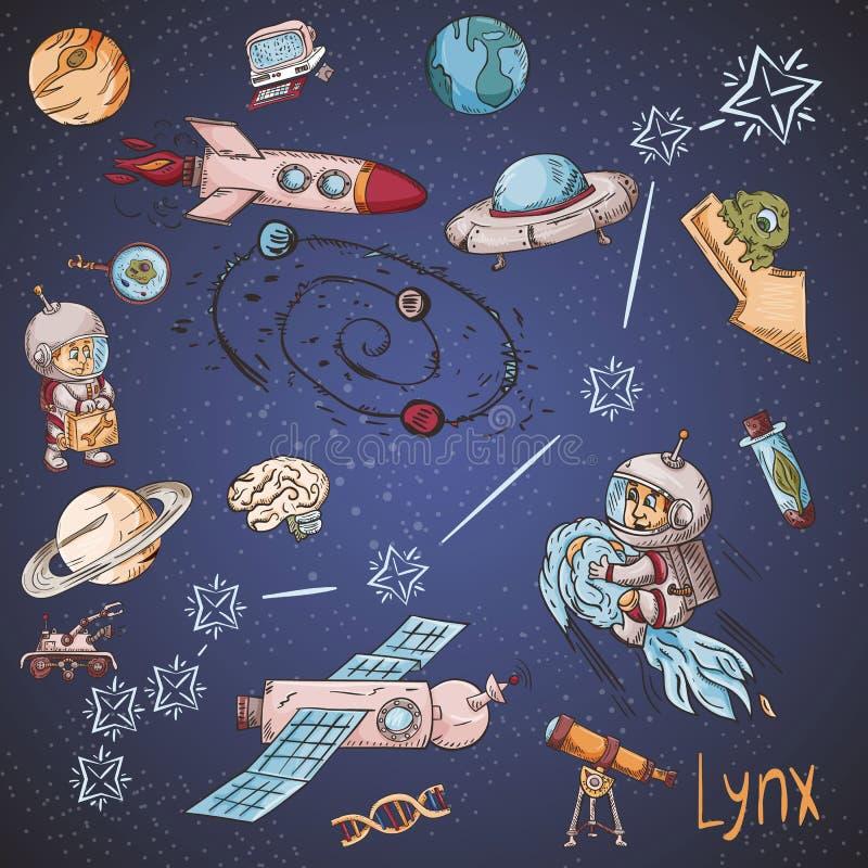 Constelación del espacio con los ejemplos de color de name_23_and en un tema científico y fantástico stock de ilustración