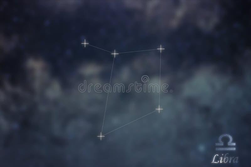 Constelación del libra La constelación del libra de la muestra del zodiaco alinea Galax fotografía de archivo