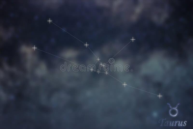 Constelación del tauro La muestra Taurus Constellation del zodiaco alinea el GA fotos de archivo