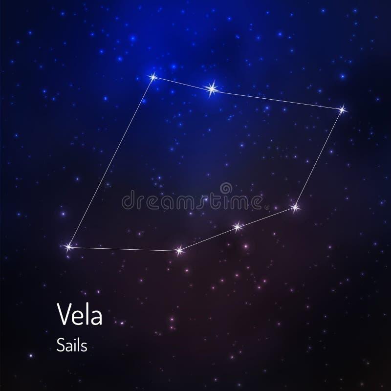 Constelación en el cielo estrellado de la noche stock de ilustración