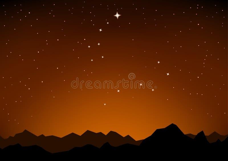 Constelaciones de la estrella y puesta del sol de la montaña stock de ilustración