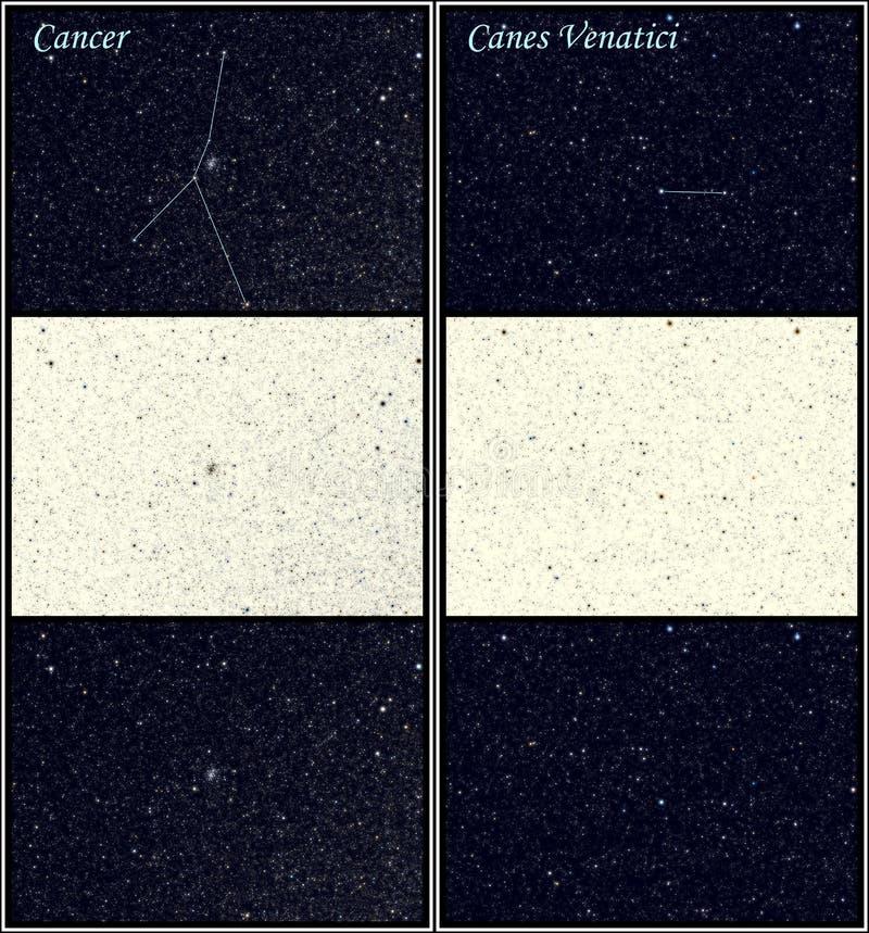 Constelaciones de Venatici del cáncer y de los bastones stock de ilustración