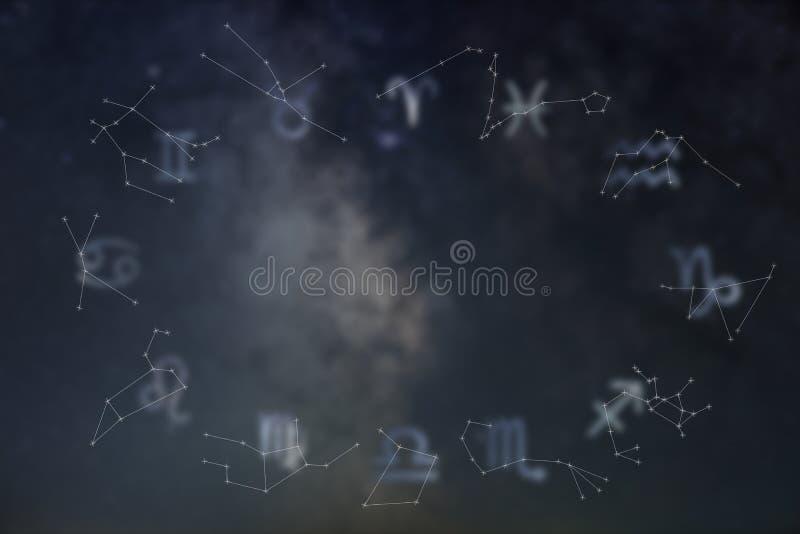 Constelaciones del zodiaco Muestras del zodiaco Muestras del zodiaco imagen de archivo libre de regalías