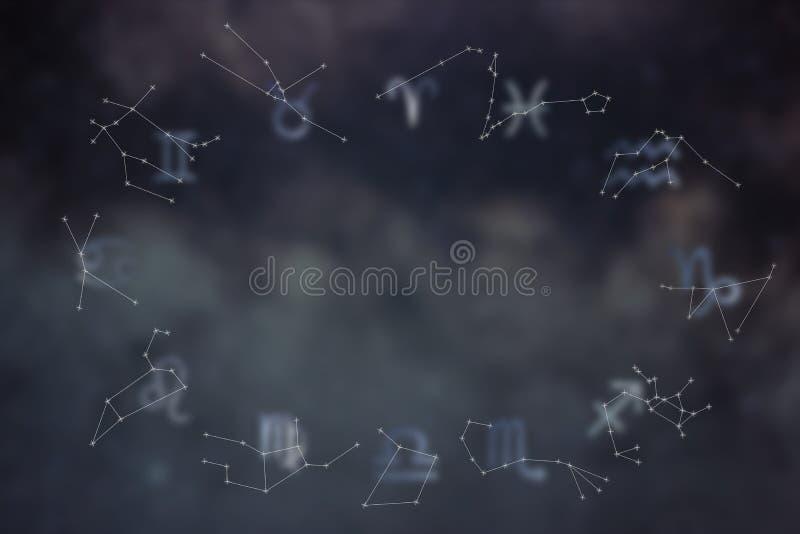 Constelaciones del zodiaco Muestras del zodiaco Muestras del zodiaco fotografía de archivo