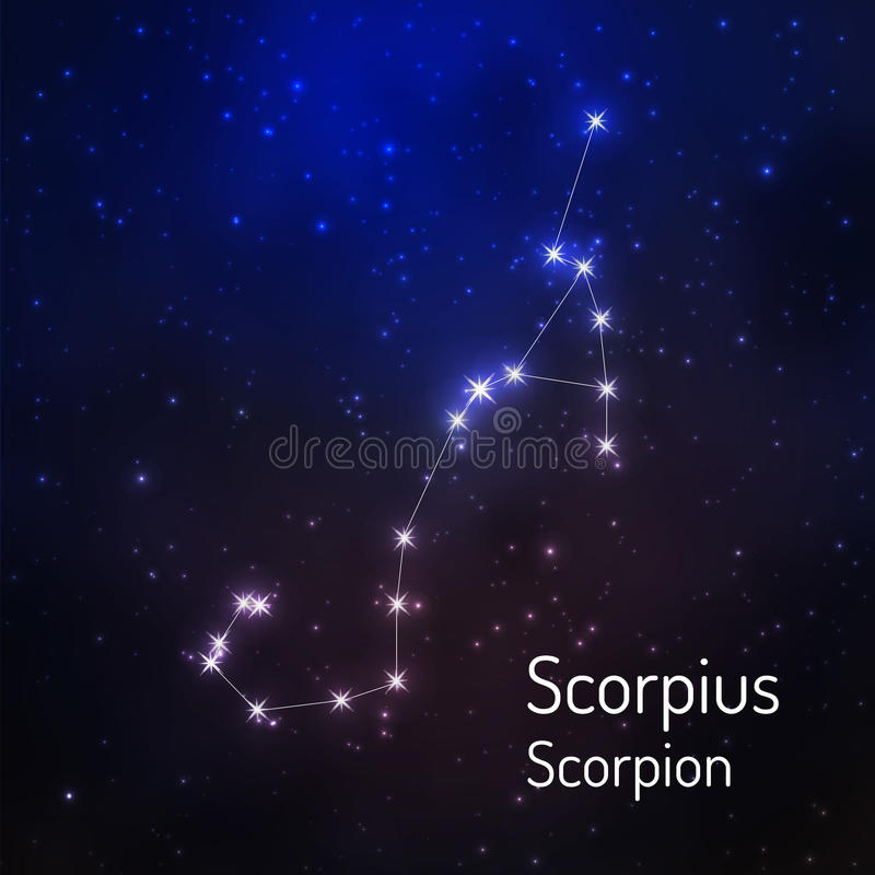 Constellatie in de nacht sterrige hemel stock illustratie