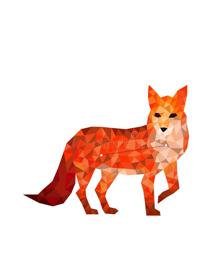 Constellatie rode vos op een witte achtergrond in veelhoekige stijl vector illustratie