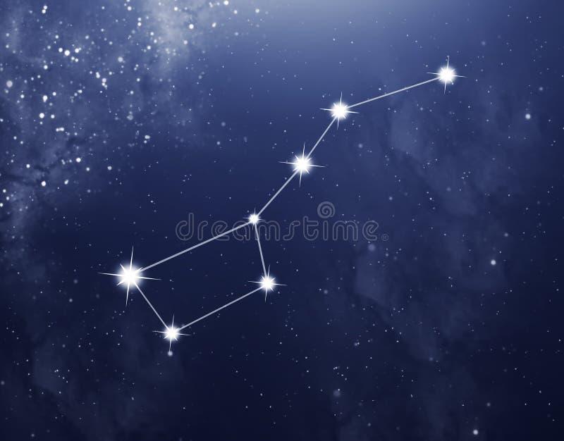 Constellatie van Grote Beer op de blauwe sterrige achtergrond stock foto