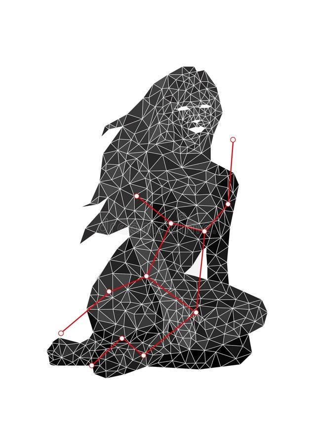 Constellatie van zwart-witte Maagdconstellatie met rode lijn van sterren in veelhoekige stijl royalty-vrije illustratie