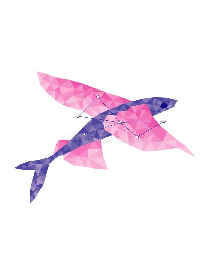 Constellatie vliegende vissen op een grijze achtergrond in veelhoekige stijl royalty-vrije illustratie