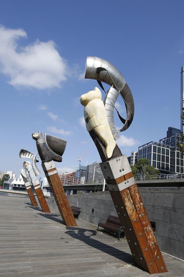 Constellatiebeeldhouwwerken door Bruce Armstrong en Geoffrey Bartlet in Melbourne stock fotografie