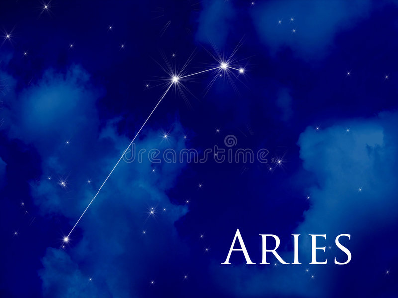 Constellation Aries. Night sky with Aries constellation vector illustration