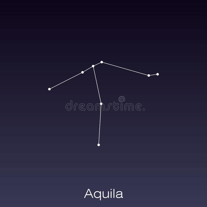 Constellation as it can be seen by the naked eye. Aquila constellation as it can be seen by the naked eye stock illustration