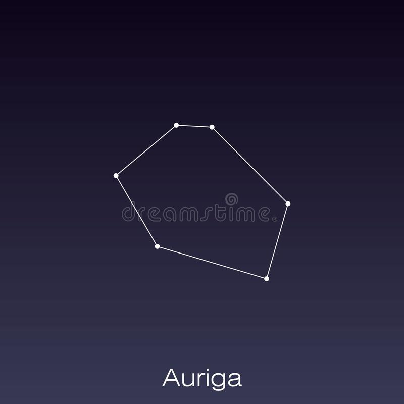 Constellation as it can be seen by the naked eye. Auriga constellation as it can be seen by the naked eye vector illustration