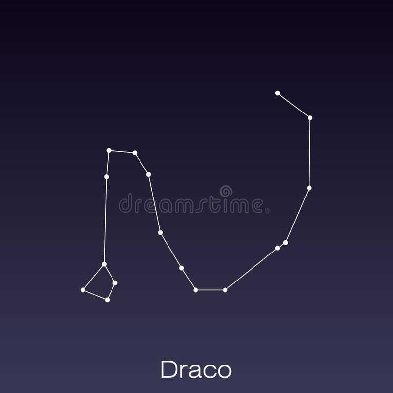 Constellation as it can be seen by the naked eye. Draco constellation as it can be seen by the naked eye vector illustration