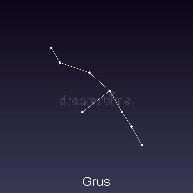 Constellation as it can be seen by the naked eye. Grus constellation as it can be seen by the naked eye vector illustration
