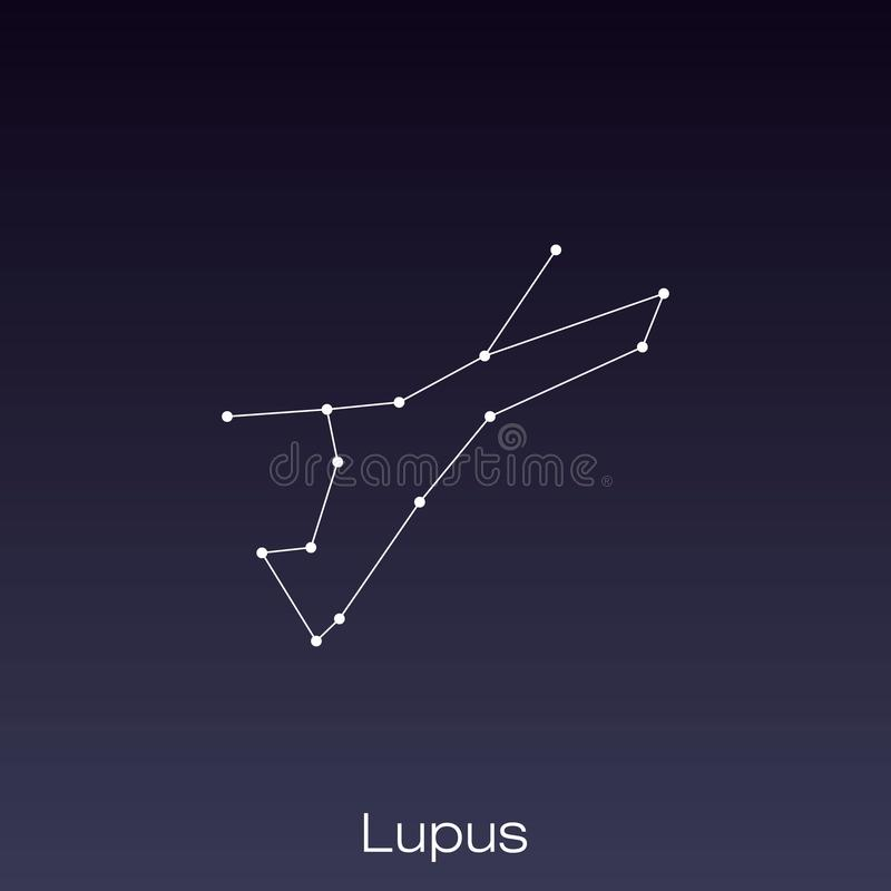 Constellation as it can be seen by the naked eye. Lupus constellation as it can be seen by the naked eye vector illustration