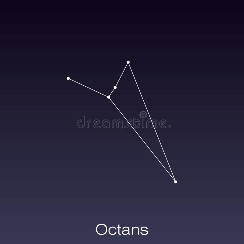 Constellation as it can be seen by the naked eye. Octans constellation as it can be seen by the naked eye stock illustration