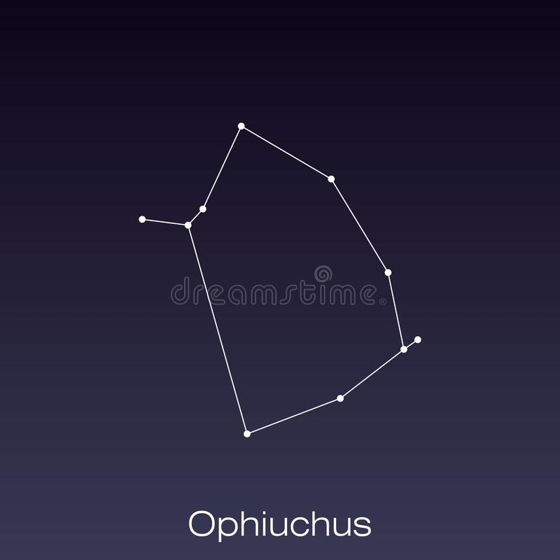 Constellation as it can be seen by the naked eye. Ophiuchus constellation as it can be seen by the naked eye royalty free illustration