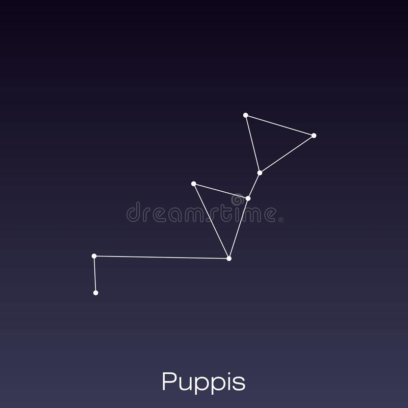 Constellation as it can be seen by the naked eye. Puppis constellation as it can be seen by the naked eye stock illustration