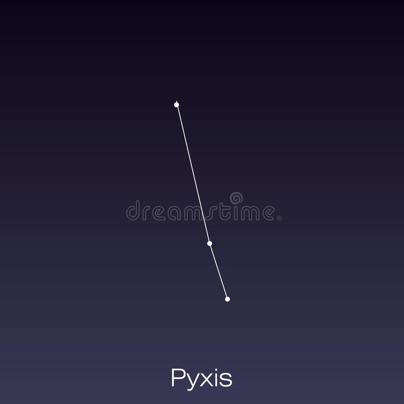 Constellation as it can be seen by the naked eye. Pyxis constellation as it can be seen by the naked eye vector illustration
