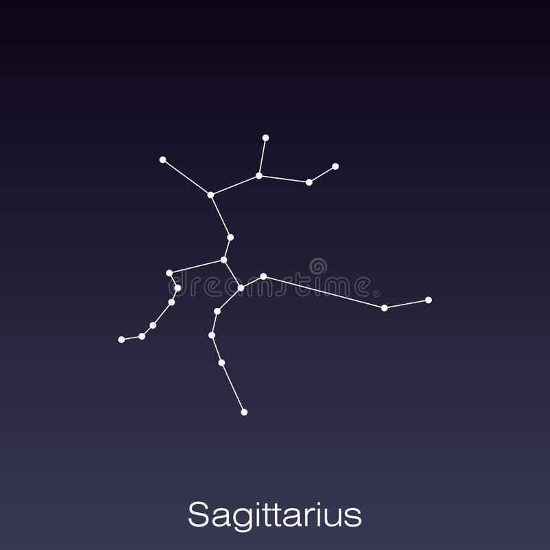 Constellation as it can be seen by the naked eye. Sagittarius constellation as it can be seen by the naked eye vector illustration