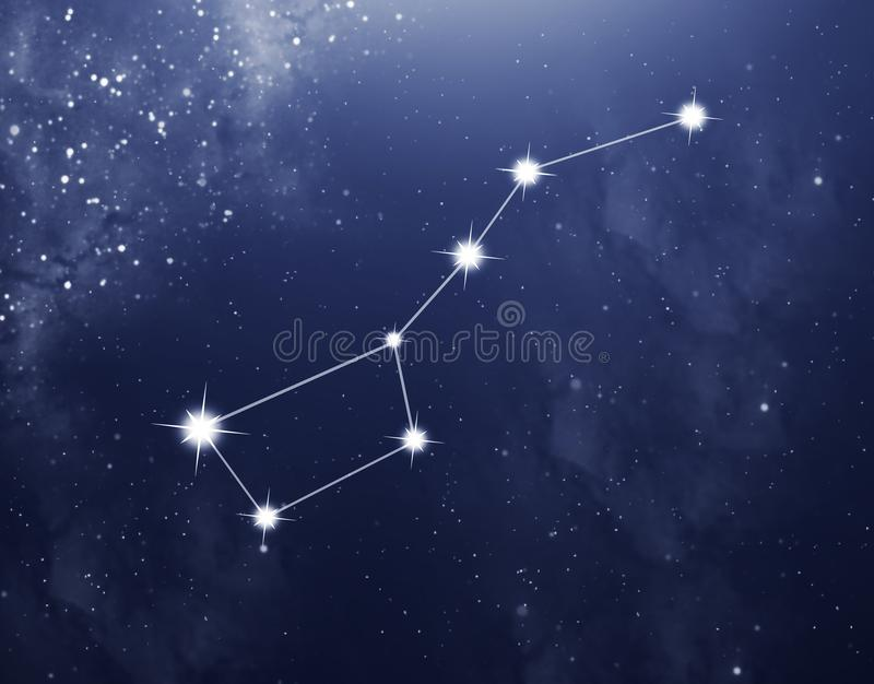 Constellation of Big Bear on the blue starry background. stock photo