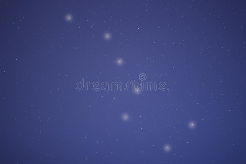 The constellation of a big bear in the night blue sky. royalty free stock images