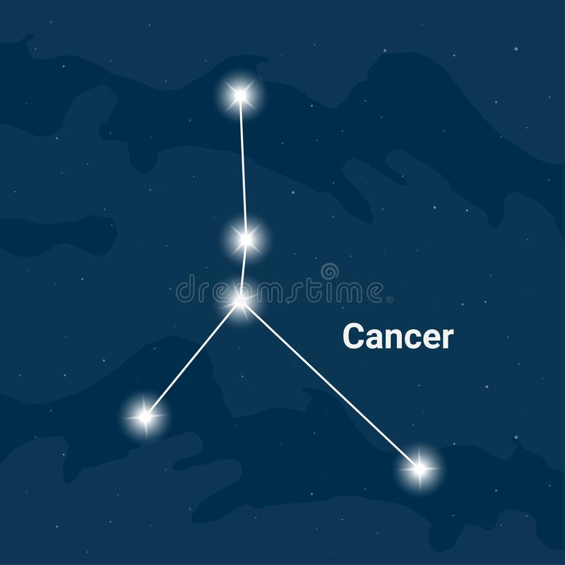 The constellation Cancer or The Crab - Vector. The constellation Cancer or The Crab on night sky background, Flat design stock illustration