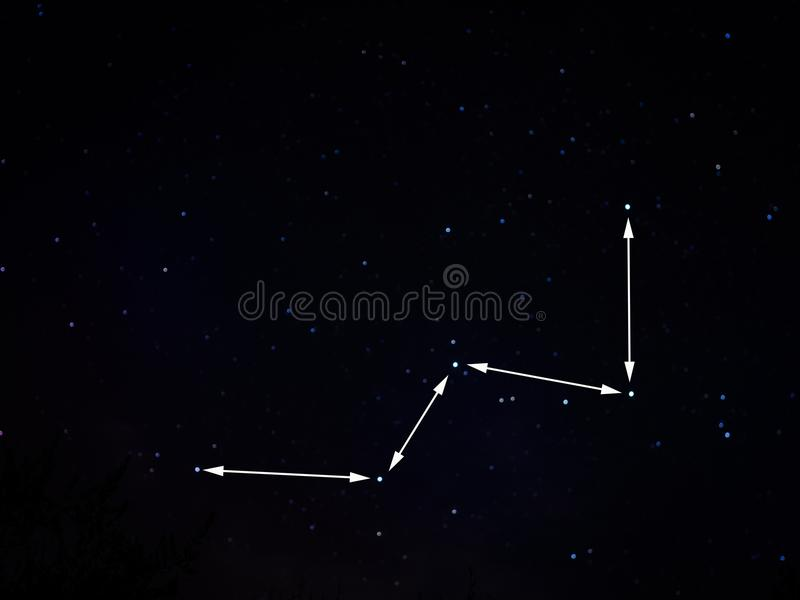 Constellation of Cassiopeia, low in the sky. royalty free stock images