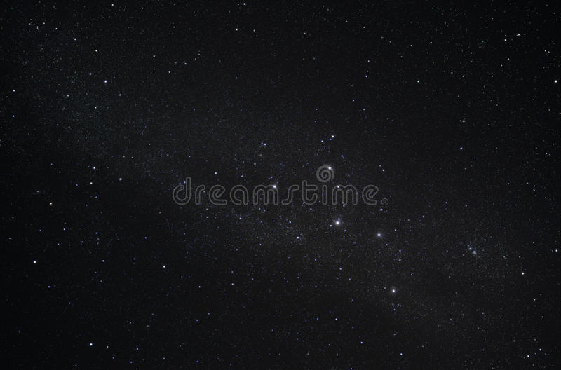 Constellation Cassiopeia and our galaxy the Milky Way stock photo