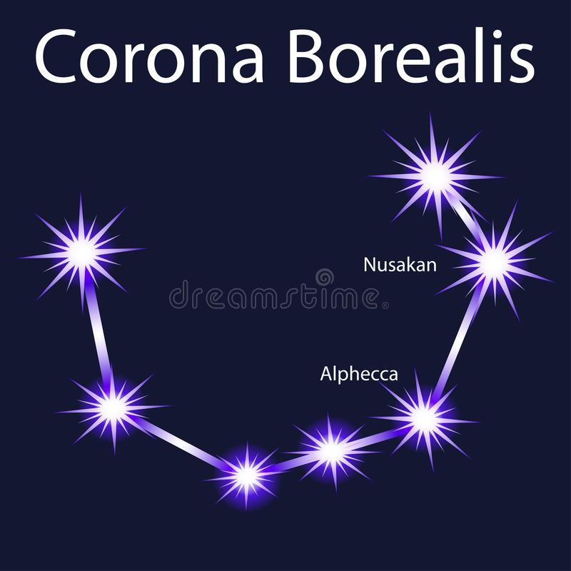 constellation Corona Borealis avec des étoiles Nusakan, illustration de vecteur