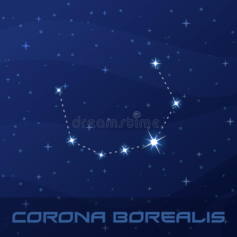 Constellation Corona Borealis, couronne du nord illustration libre de droits