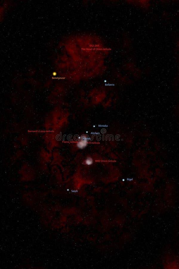 Constellation d'Orion, étiquetée impression d'artiste. photo libre de droits