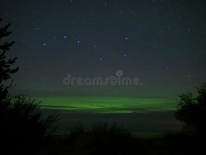 Constellation de grand huit (commandant d'Ursa), arbres et lumières polaires de l'aurore images libres de droits