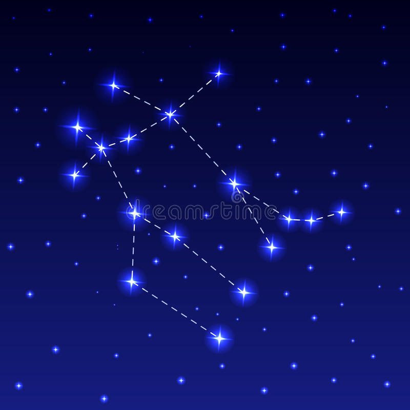 The Constellation Gemini. In the night starry sky. Vector illustration of the concept of astronomy stock illustration