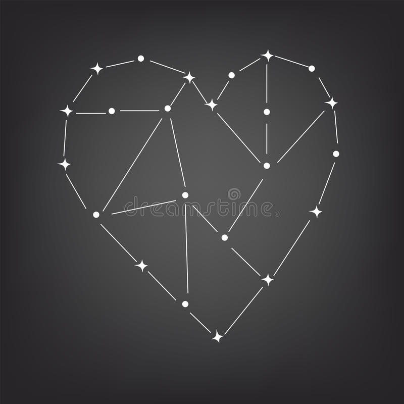 Constellation of the heart. Love constellation of the heart space, vector stock illustration