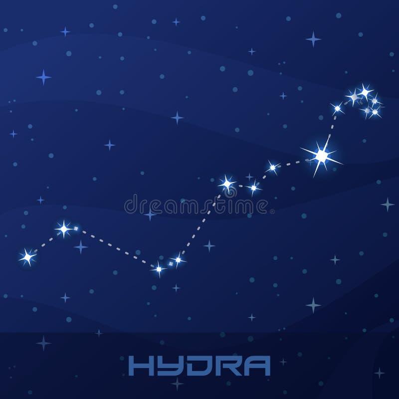 Constellation Hydra, Water Snake night star sky stock illustration