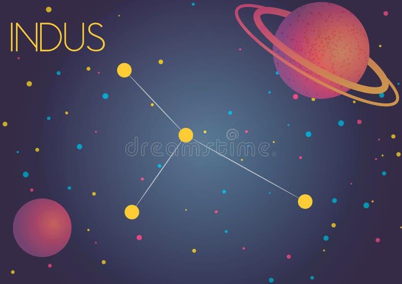 The constellation Indus royalty free illustration