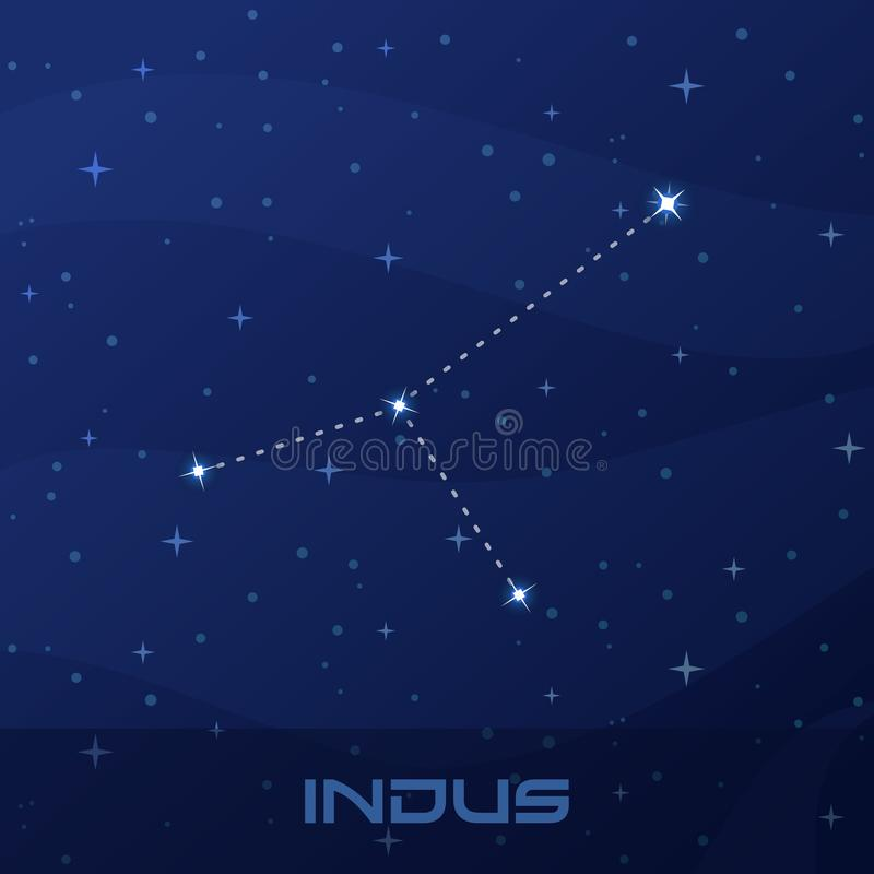 Constellation Indus, Indian, night star sky royalty free illustration
