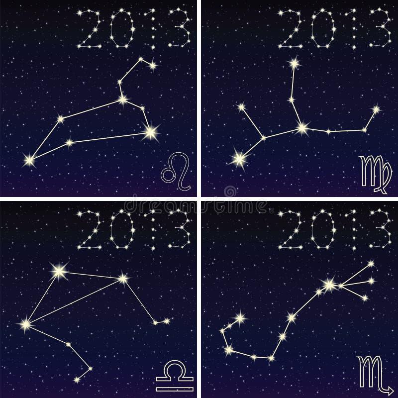 Constellation Of Leo, Virgo, Libra, Scorpius Stock Vector ...