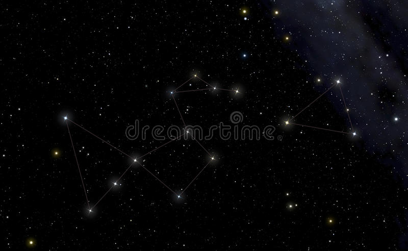 Constellation of Peacock in the left and Southern Triangle in th stock illustration